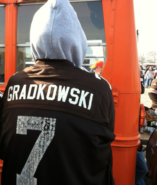 Bruce Gradkowski, Cleveland Browns:  This is still preferable to wearing a LeBron jersey.  (Found by Andrew in Cleveland.)