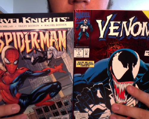 Two gems from today's haul: #1 of Millar's take on Spider Man and a holographic variant #1 of the limited Venom series from 1992.  Stoked.