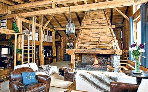 Living room area of a ski chalet in Chamonix, France (via Ski chalets: the best for food lovers - Telegraph)