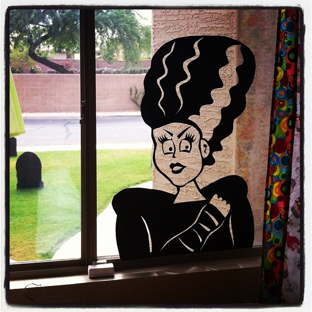 Bride of Frankenstein window silhouette made & put up. Can't wait to this tonight from outside. I think she needs a mate though… (Taken with instagram)