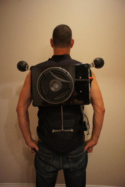 This boombox = a wearable backpack. Now you'll really rock