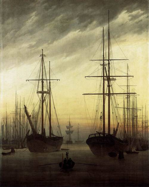 fer1972: 1811 Caspar David Friedrich (German Romantic Landscape, 1774-1840) ~ View of a Harbor