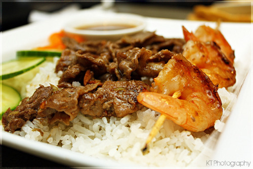 Beef & Shrimp on Coconut Rice by gtsomething on Flickr.