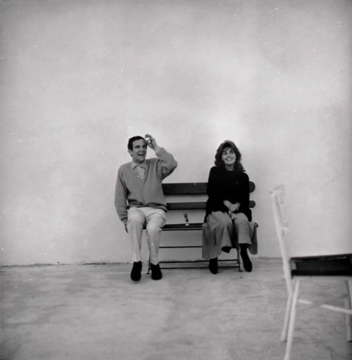 criterioncorner:unpetitgateau:François Truffaut and Jeanne Moreau on the set of Jules et Jim, 1962.