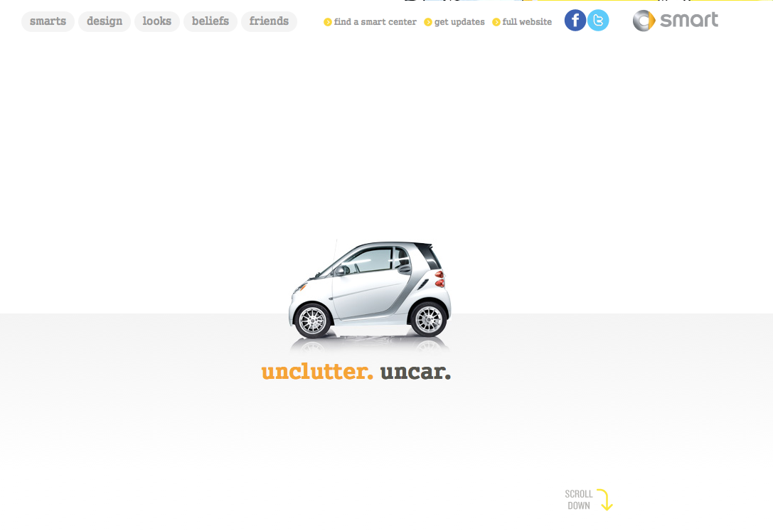 Smart Car USA html5 scrolling/parallax site. So I was listening to some good ol' Andrew Gold (he did the Golden Girls song, don't hate) on Grooveshark and I saw this smart car ad. This is a really awesome site. I'm almost convinced to help the environment and get one. Then I remember I'm six feet tall, weigh over 200 pounds, and generally like to be comfortable whilst I drive. Badass site though. Check it out. (By the way Grooveshark has the best media/ad placment designs I've seen on music sites.)