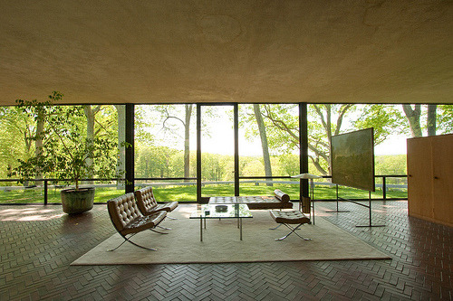 Philip Johnson, The Glass House, Perfect Living Room Setting