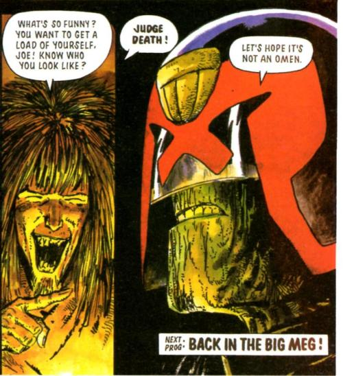 From my purely subjective perspective, one of the great Judge Dredd moments. Sinister, funny, brilliantly deadpan and yet very troubling - Wagner at his best. From 'Necropolis', Pt 13 (ooh, spooky!), Prog 686.