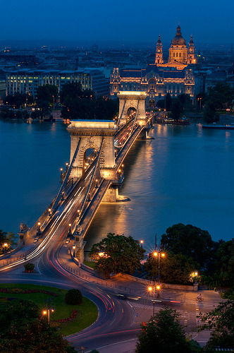 Chain Bridge and St Stephens Basilica, Budapest, Hungary (by Greg Benz Photography)