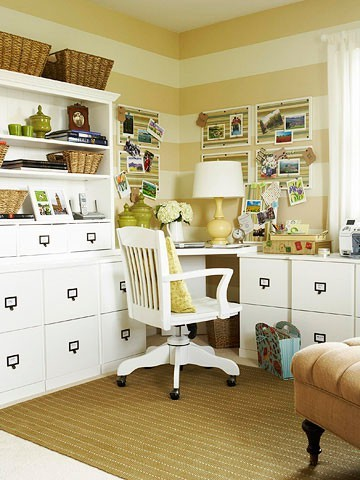 neutral horizontal stripes <3and what a cute office