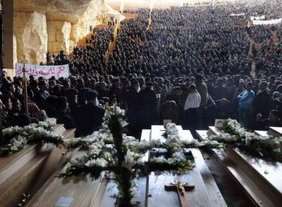 peaceisfree:  Photo from the funeral of the innocent Egyptian Christians killed in Maspero on October 9th, 2011 (mostly youth). May you Rest in Peace, and may justice be served to those who committed (and continue to commit) these crimes against humanity.