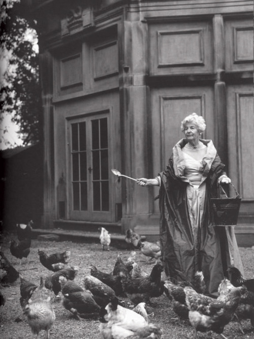 "Chicken Awesome: Deborah Vivien Cavendish, Dowager Duchess of Devonshire (1995, age 90), photograph by Bruce Weber.  ""Here I keep hens, up to 250 of them, the free-est range known to poultry."" ~ Duchess of Devonshire on the game larder at her 35,000 acre estate.  Required reading: Home to Roost: and other peckings."
