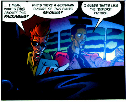 "skpow:  Saturday Series: A panel from 2000 AD ""Sinister Dexter: Dirty Habits"", prog 1234, 21 March 2001. Art by Steve Roberts, colours by Chris Blythe Another colour 2000 AD panel in which they get the light and shade perfect."