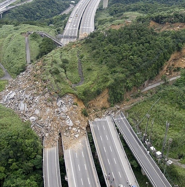 fungi:  April 25, 2010 a major landslide covered a 300-m plus stretch of Taiwan's National Freeway No. 3, killing at least 4 people and burying three cars and destroying a bridge. The estimated volume of the slide is 200,000 cubic meters