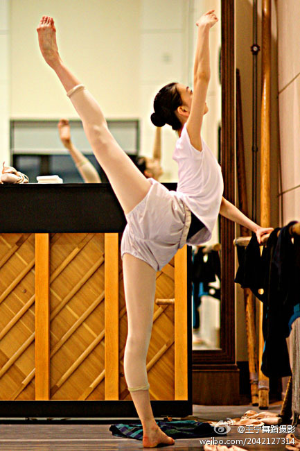 Chinese Ballet student practices after class.