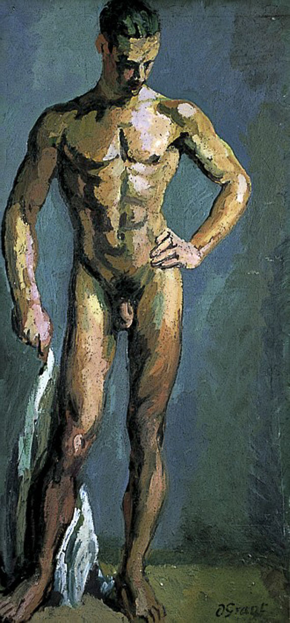 artqueer:  Duncan GrantStanding Male Nude - Study of Tony Asseratic. 1935Oil on canvas97 cm x 45.5 cm