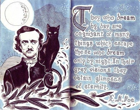 ajparker87:  Edgar Allan Poe quote on Moleskine by Daniela Ballone  Happy Halloween everybody :D