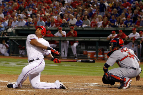 Adrián Beltré of the Texas Rangers bats in the fourth inning during Game Five of the MLB World Series against the St. Louis Cardinals at Rangers Ballpark in Arlington on October 24, 2011 in Arlington, Texas. - Photo by Tom Pennington/Getty Images