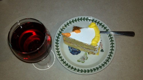 Time for a snack. Cranberry wine and birthday cake.