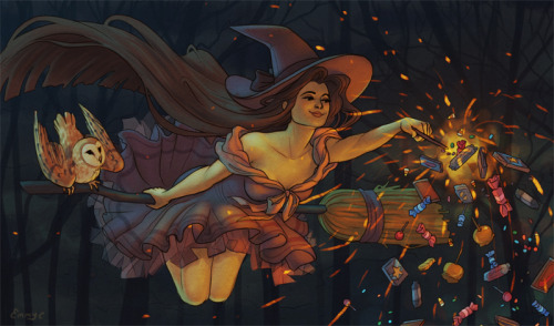 emmyc:  Full size here I wanted to draw a witch that flew around magicking up candy for trick-or-treaters so she could prove that not all witches are scary and bad!  oh Emmy, you know how I feel about owlllsss…