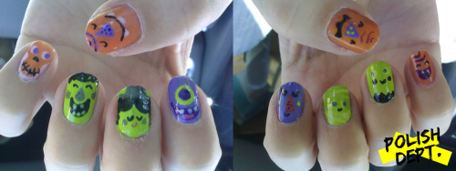 little monster Halloween nails!