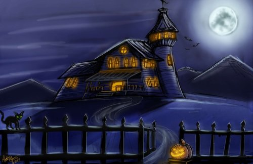 Spooky House by *JoeCool42 Happy Halloween everyone! Just a spooky house I painted :D