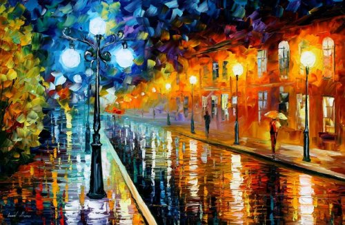 BLUE LIGHTS — LEONID AFREMOV by *Leonidafremov