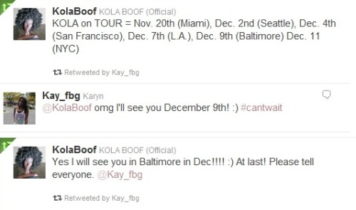 KOLA on TOUR = Nov. 20th (Miami), Dec. 2nd (Seattle), Dec. 4th (San Francisco), Dec. 7th (L.A.), Dec. 9th (Baltimore) Dec. 11 (NYC)!! Baltimoreans see you there! :)