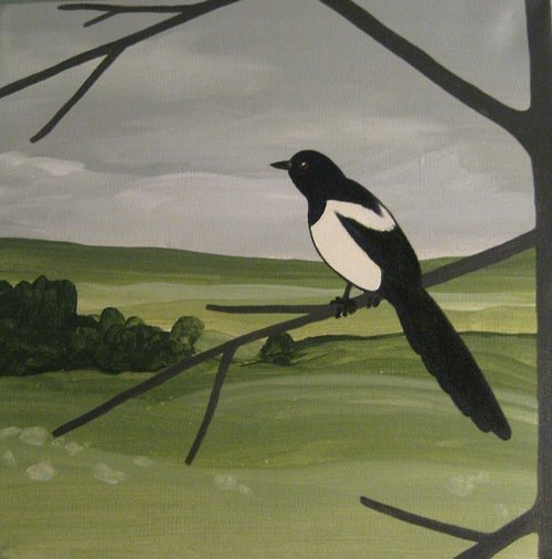 """Magpie"" 12"" x 12""  Acrylic on canvas Sold"