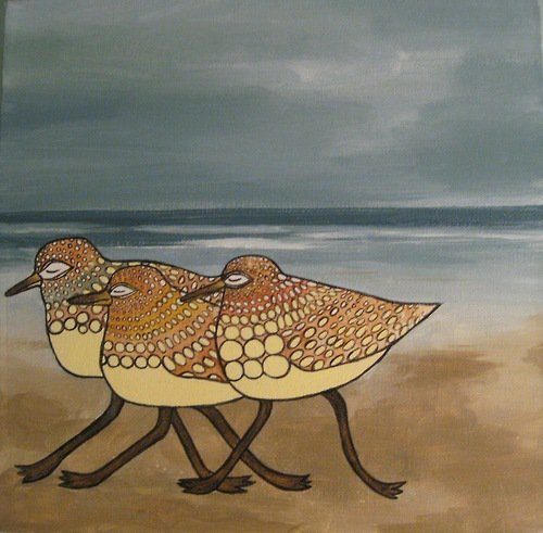 """Sanderlings"" 12"" x 12"" Acrylic on canvas Sold"