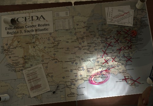 iamthebuddykeith:  Ya'll have seen this map, right? Ain't nothin' marked out in the west. We can't even find a good map. Been markin' out cities ourselves, pretty much…  Ya haven't run into anyone else out there have ya'? Hell we ain't seen no one since Zooey and her friends. Ellis 'bout cracked the ground he fell so hard for her.