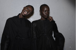 newpurse:  Grace Bol and Ajak Deng backstage at Rick Owens spring 2012 RTW.