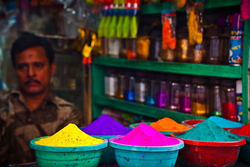 Colors for the Holi festival (The Festival of Colors) in the Sakhari Bazaar in Old Dhaka, Bangladesh (by Sopnochora)