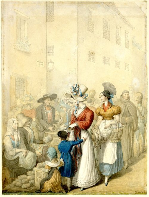 Street Scene by Georg Emmanuel Ortiz.  The British Museum.  They don't have many details about this print at the British Museum, but my guess is early 1820-1825, based on their clothing.  Ortiz was living in Leipzig in the 1820s, so I think that this is in Germany.  There are some wild pieces of headwear in this image, including the strange grey headdress on the girl in the short-sleeved spencer and the headdress of the woman directly behind her.  Also, on the far left is a soldier wearing a very unusual helmet!  I know very little about early 19th century German uniforms, so if anyone out there has more information about him, I sure would appreciate it!