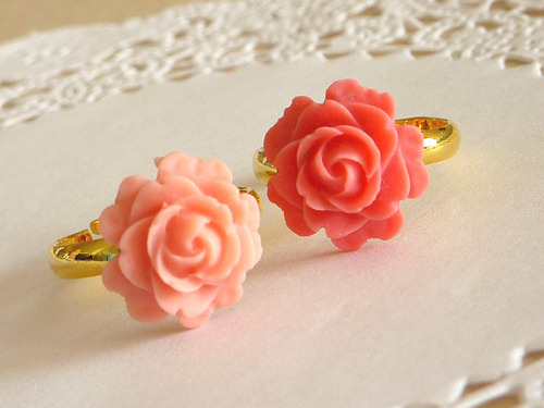 sparkgirl:  Cherry Blossom Pink  & Coral Pink Rose Rings by Katheyl on Flickr.