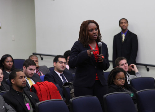 Law student asks a question at the White House panel on the legal legacy of the 1961 Freedom Rides
