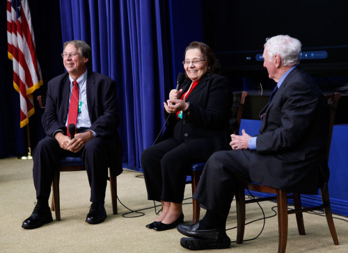 Raymond Arsenault, Diane Nash, and John Seigenthaler at a White House panel discussion of the NEH-funded documentary Freedom Riders