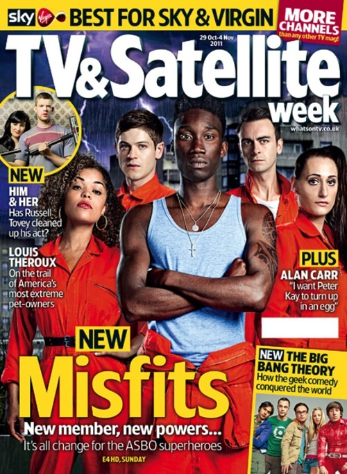 Check out the cover of this weeks TV & Satellite Week magazine for the image I retouched of the cast of my new fave TV show, Misfits. Photographed by Jon Enoch as individual studio portraits against a white background, I had to comp the actors together, throw in a council block and a stormy sky, and create a rain effect… voila.
