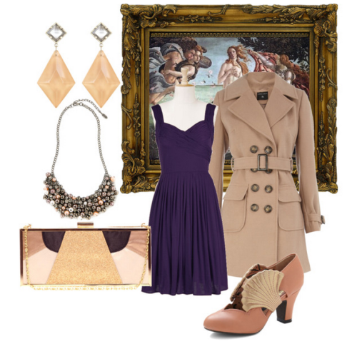 Mighty Aphrodite - a plus size polyvore set featuring an eShakti dress Dorothy Perkins camel coat£69 - dorothyperkins.com High heel pumps$145 - modcloth.com  ASOS satin clutch$63 - asos.com  All Saints glass earrings$65 - allsaints.com  Esprit multicolor necklace$50 - espritshop.com