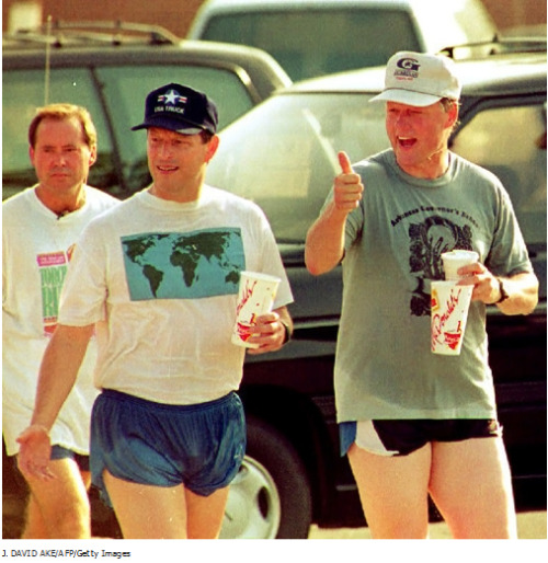 "Who wears short shorts? fuckyeahugly90sclothes:  supportourpoops:  al gore's shorts invented the internet  Fuck Yeah Ugly '90s Clothes: Presidential Edition! (You should all start humming ""Hail to the Chief"" right now …)"
