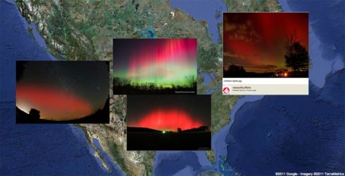 Submit Your Northern Lights Images Around the world the epic Northern Lights (caused by a massive geometric storm) seen across the country showed off in magnificent pink and green skies in parts of the United States. The Aurora Borealis is a rare sight in the skies above the U.S. Did you see it? Did you get pictures? If so, submit them to DiscoveryNews. We are compiling images for a spectacular slideshow later.