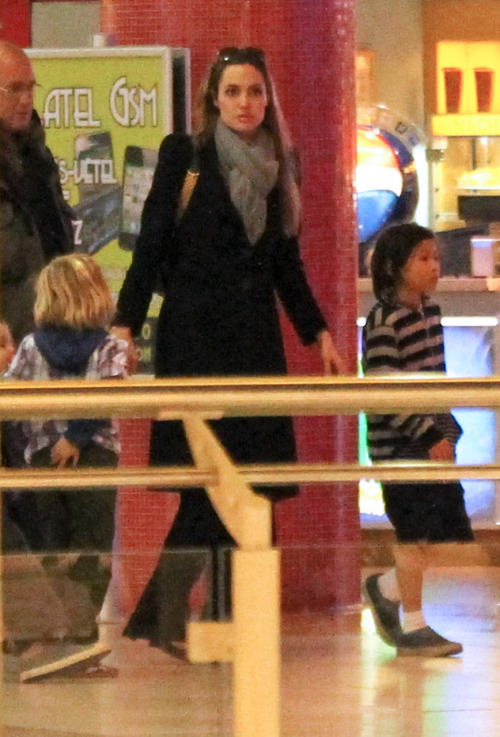 Angelina Jolie and family shopping in Budapest - October 24, 2011.
