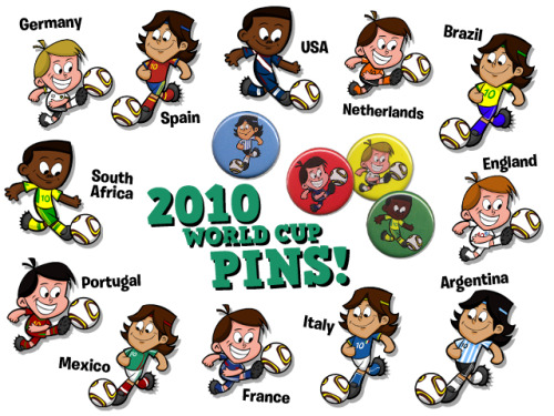 Some pin designs I did for the world cup last year.