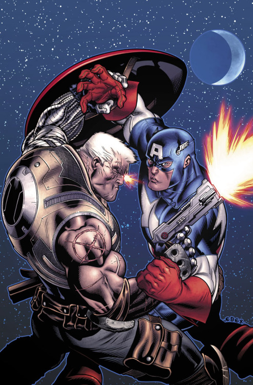 agentmlovestacos:  Cable vs. Captain America! This is Ed McGuinness' cover to AVENGERS: X-SANCTION #1, on sale December 14. So psyched for this.  Cool cool cool