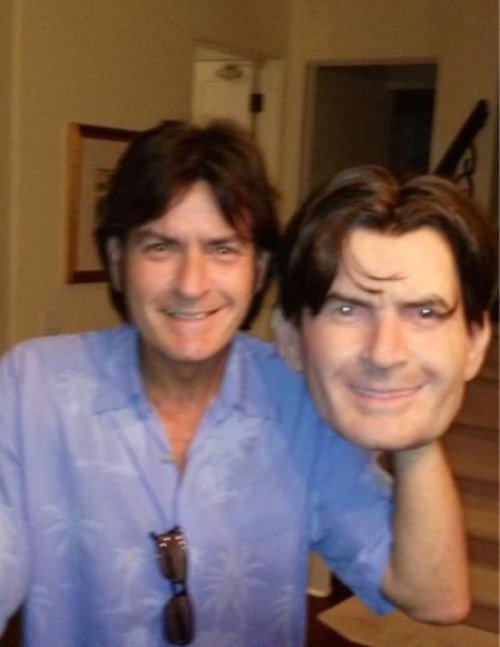 Charlie Sheen Halloween Mask Tiger blood sold separately.