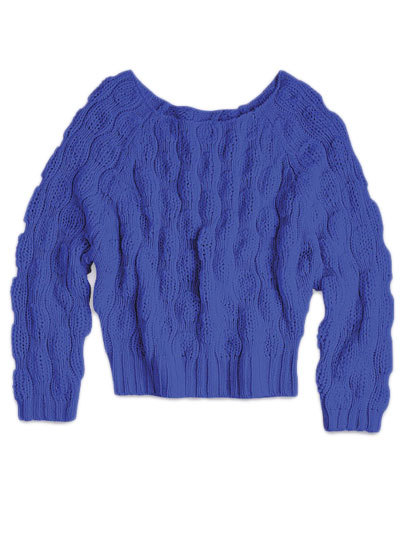 Cozy up in style this season with a bright and chunky sweater, like this cobalt-colored cable knit from Delia's. See more in our list of 100 stylish sweaters for fall »