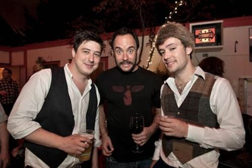 Marcus Mumford and Ben Lovett of Mumford and Sons with Dave Matthews backstage at the 25th Annual Bridge School Benefit in Mountain View, California. Photo copyright Jay Blakesberg for RollingStone.