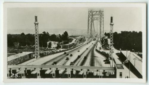 Happy birthday, George Washington Bridge! Today in 1931, the famous bridge opened to traffic for the first time. To mark the occasion, NYPL's own Jeremy Megraw did a blog about his love of the 80-year-old G-Dubs, and above is a cigarette card from sometime between 1931 and 1940 documenting the early years of the bridge. It is from our George Arents Collection. Enjoy!