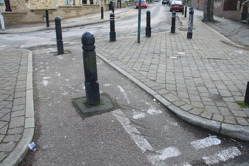 sheffieldcyclechic:  feb0101 on Flickr. Sheffield Council loves bollards