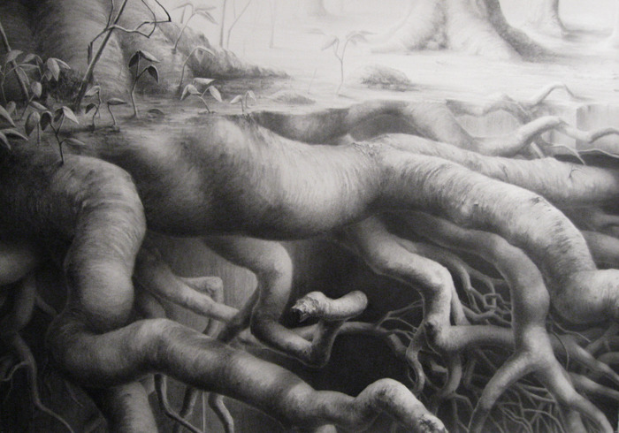Burrow by Gregory Brellochs. Graphite on paper, 37 x 52 inches, 2009.