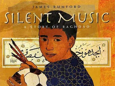 Silent Music: A Story of Baghdad (2008) by James Rumford. Such a beautiful book and an important one as American troops get ready to leave Iraq at the end of this year. It's amazing to me how one little picture book can encapsulate so much: the exquisiteness of Arabic calligraphy, coping with the losses of war, kids being kids even in the shadow of war, the story of Yakut creating beautiful calligraphy during another war back in 1258.   I love playing soccer in the dusty street with my friends.  I love loud, parent-rattling music. And I love dancing. But most of all, I love calligraphy — writing the letters of my language and making them go from right to left across the page. I love to make the ink flow — from my pen stopping and starting, gliding and sweeping, leaping, dancing to the silent music in my head.  I have long appreciated Arabic calligraphy, but have never come across any good resources that explains it as succinctly as this book. Oh, the power of children's books. Mightier than even the internet sometimes.  But in full disclosure, the ending caught me off guard a little.  It's funny how easily my pen glides down the long, sweeping hooks of the word HARB — war… how stubbornly it resists me when I make the difficult waves and slanted staff of SALAM — peace… how much I have to practice until this word flows freely from my pen.  I get the sentiment — that we all can work on peace more than war. And yes, when you see the difference in the words written in Arabic, you'll get this even more. But the implications of symbolically putting the work of peace on this young boy — or any child in Iraq left me feeling uneasy.  Even so, pick up Silent Music to see for yourself.